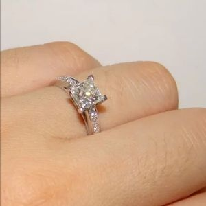 14K' White Princess Square Diamond Engagement Ring